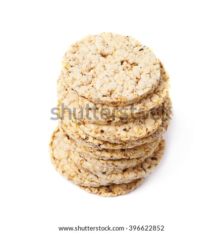 Pile of diet rice crackers isolated