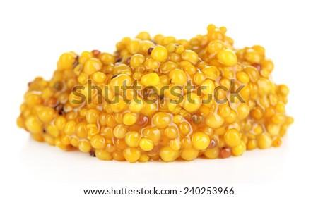 Pile of Dijon mustard isolated on white - stock photo