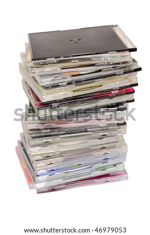 pile of disks under the white background