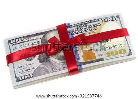 pile of 100 dollar bills in a gift ribbon