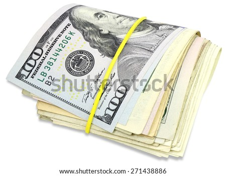 Pile of dollars banknotes isolated on a white background with Clipping Path - stock photo