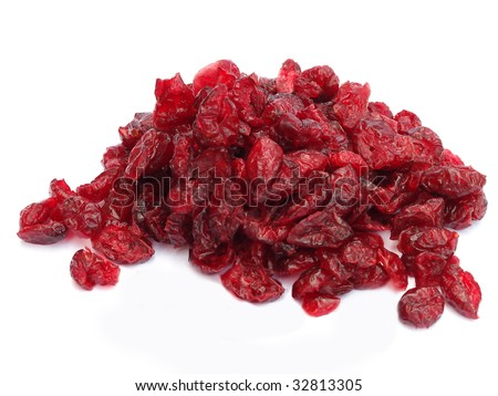Pile of dried cranberries isolated on white