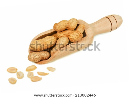 Pile of dry roasted peanuts in scoop isolated on white background. Closeup.  - stock photo