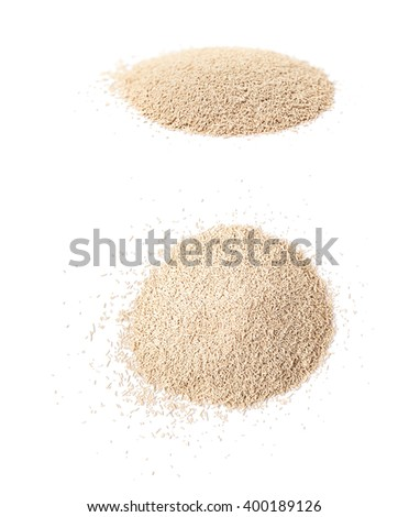 Pile of dry yeast isolated - stock photo