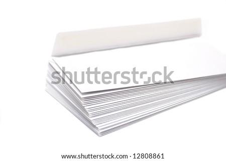 Pile of envelopes on a white  background - stock photo