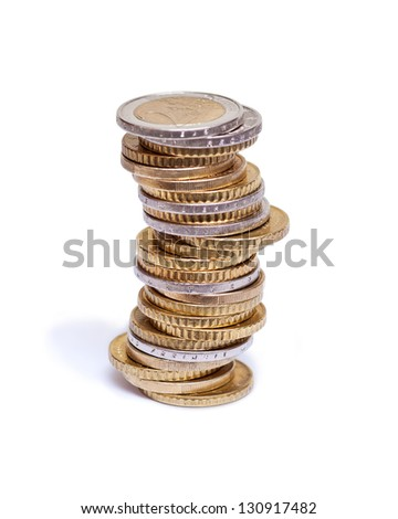 Pile of euro coins on white background - stock photo