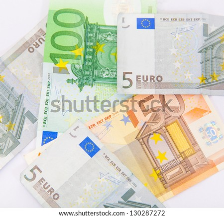 Pile of euro currency banknotes background - stock photo