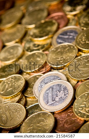 Pile of Euro money coins