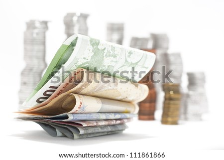 Pile of euro money. Soft focus. - stock photo