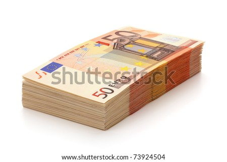 Pile of fifty euro banknotes, isolated on the white background, clipping path included. Full focus. - stock photo