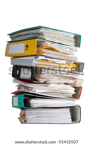 pile of file binder with a lot of documents - stock photo