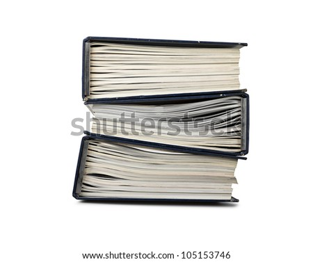 pile of file binder with a lot of documents ( clipping path ) - stock photo