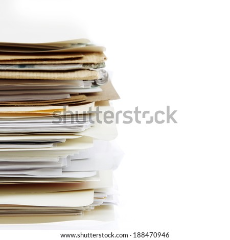 Pile of files on plain background