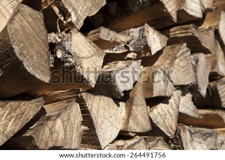 Pile of firewood - stock photo