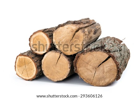 pile of firewood on a isolated white background  - stock photo