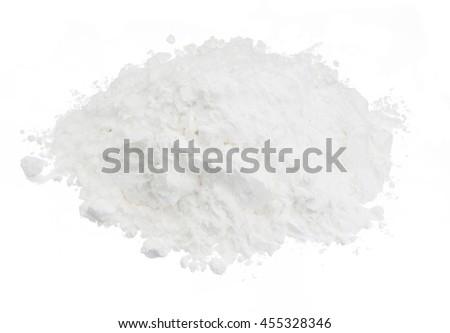 Pile of flour or powder on white background - stock photo