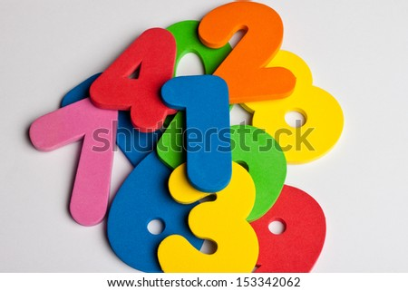 Pile of foam colored numbers - stock photo
