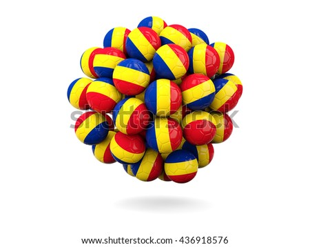 Pile of footballs with flag of romania. 3D illustration - stock photo