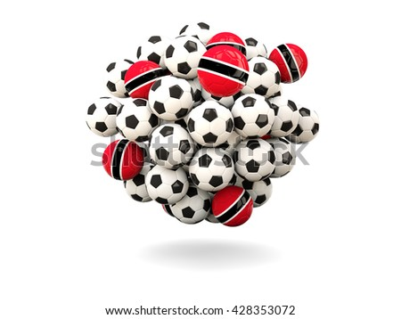 Pile of footballs with flag of trinidad and tobago. 3D illustration
