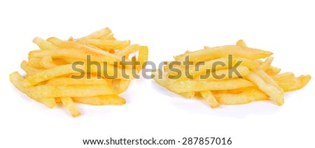 pile of french fries on a white background - stock photo