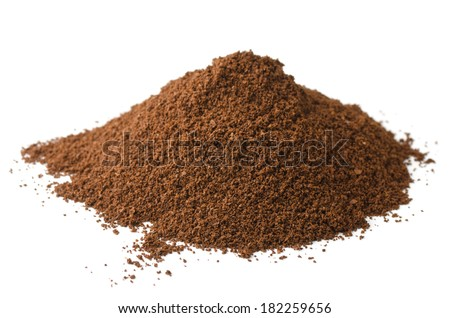 Pile of fresh ground coffee powder isolated on white - stock photo