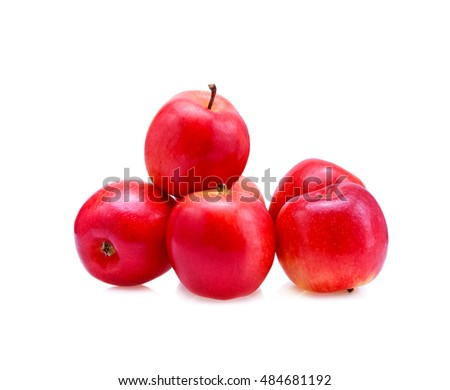 Pile of fresh red apples isolated on white background.