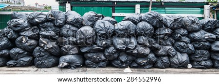pile of garbage bags - stock photo