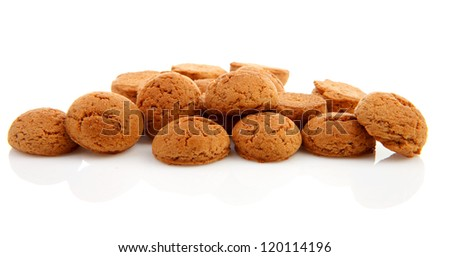 pile of ginger nuts, pepernoten isolated on white background. Typical Dutch candy for Sinterklaas event in december