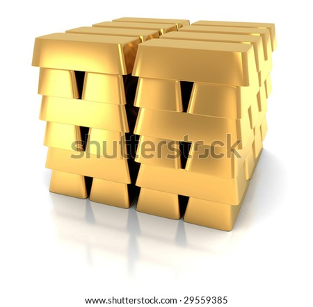 pile of gold bar in bank (3d, isolated) - stock photo