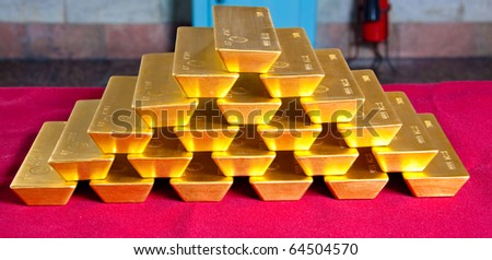 pile of gold bars - stock photo