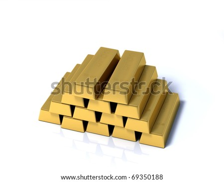 Pile of gold bars on a white background with a little reflection - stock photo