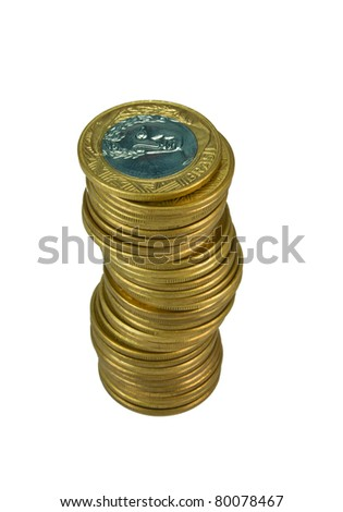 Pile of gold Brazilians coins - stock photo
