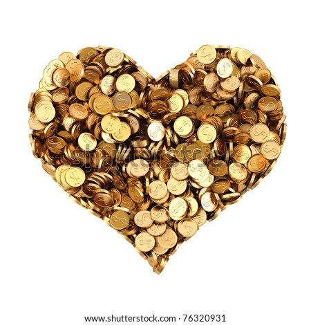 pile of gold coins in the shape of heart. isolated on white. - stock photo