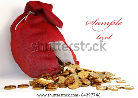 pile of gold coins spill out of the red bag with a patch. with clipping path
