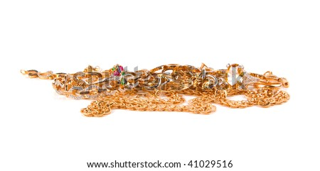 Pile of Gold Jewelry on a white background - stock photo