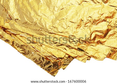 pile of gold leafs isolated on a white background - stock photo