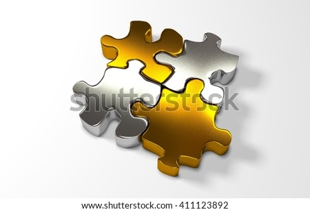 pile of gold puzzle elements, 3d render - stock photo