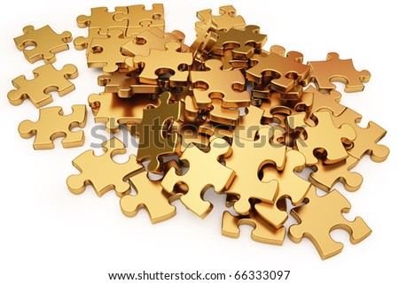 pile of gold puzzle elements scattered on the surface. isolated on white with clipping path. - stock photo