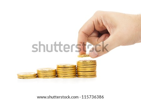 Pile of golden coins on white background - stock photo