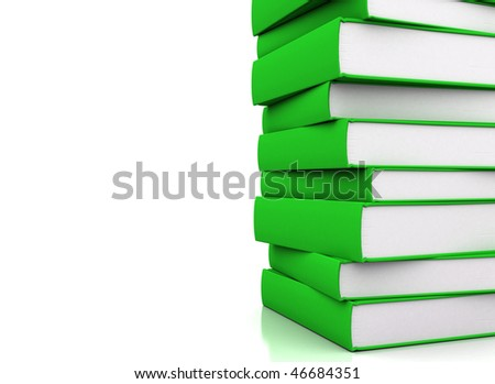 Pile of green books - stock photo