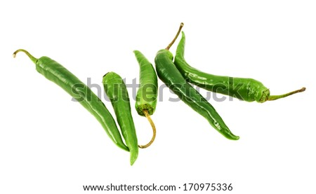 Pile of green chili peppers isolated over white background - stock photo