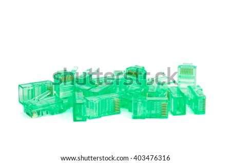 Pile of green RJ45 connectors isolated on white background - stock photo