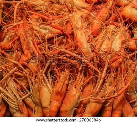 Pile of Grilled River Prawn in The Market - stock photo