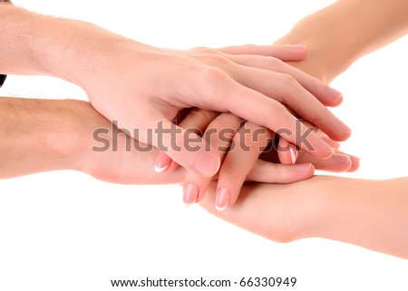 Pile of hands isolated on white - stock photo
