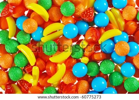 pile of hard fruit candy - stock photo