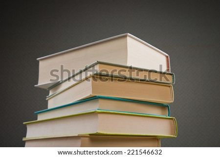 Pile of hardcover books, education and literature concept. - stock photo