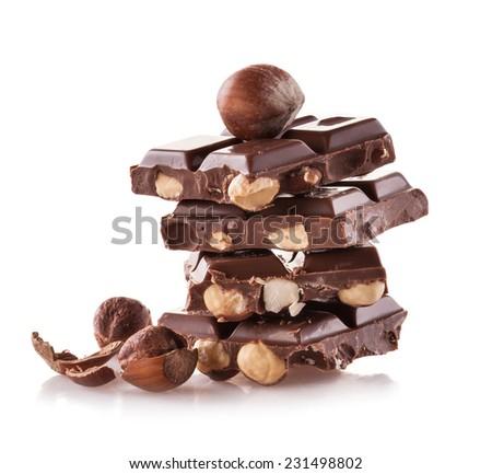 Pile of hazelnut chocolate isolated on white background - stock photo