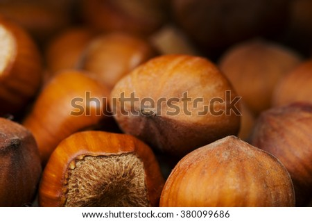 pile of hazelnuts in shell on wooden table . - stock photo