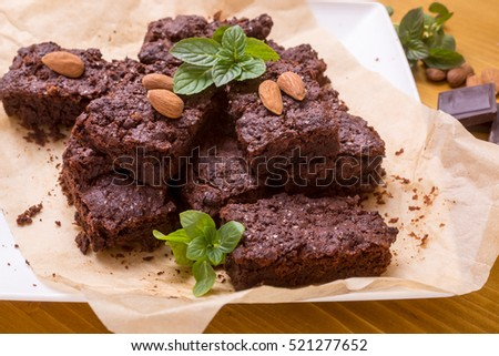 Pile of  Homemade Chocolate Brownies