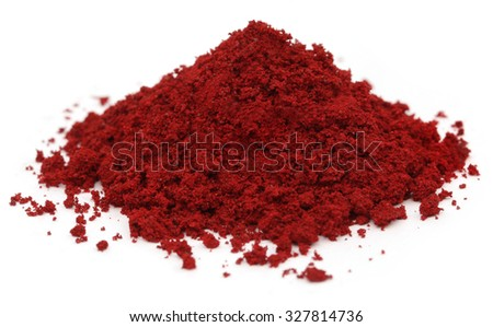 Pile of Industrial red color over white background